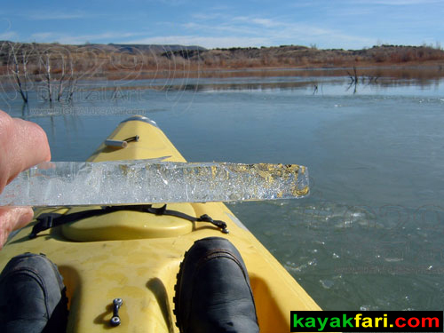Flex Maslan Winter Cochiti Lake kayakfari paddling kayak feet photography New Mexico snow ice breaker Santa Fe high altitude 25 years