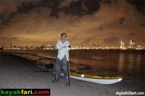 Flex Kayakfari at work! Miami night time Flex Maslan kayakfari