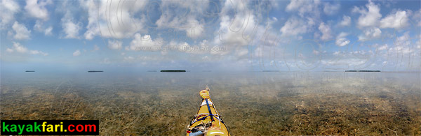 180 degree panoramic of central Florida Bay kayaking turtle grass