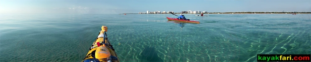 Key Biscayne, Florida: a panorama of paddling in crystal-clear water off Key Biscayne Miami Florida