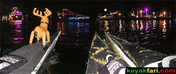 """Winterfest Boat Parade #1"" - procession from kayak :: Kayakfari.com Flex Maslan"