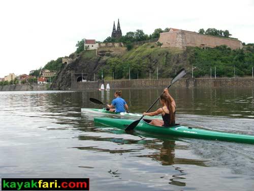 kayak Prague vltava K1 fitness paddling kayakfari river Vyšehrad castle