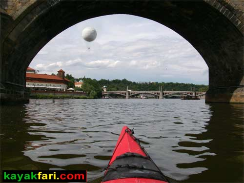 kayak Prague vltava fitness paddling kayakfari river Charles Bridge lock