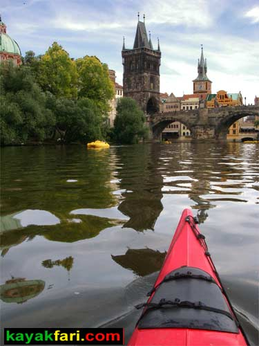 kayak Prague vltava fitness paddling kayakfari art river Charles Bridge lock photography