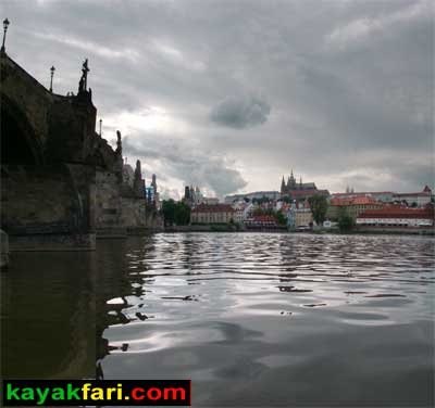 kayak Prague vltava fitness paddling kayakfari river Charles Bridge lock Castle