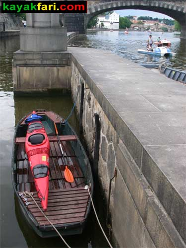 kayak Prague vltava fitness paddling kayakfari river Charles Bridge lock weir