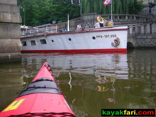 kayak Prague vltava fitness paddling kayakfari river Charles Bridge lock steamer