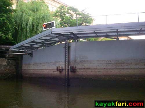 kayak Prague vltava fitness paddling kayakfari river Charles Bridge lock gate closed