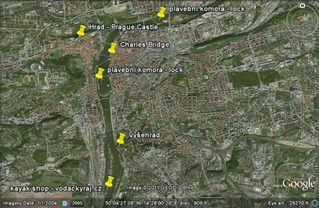kayak Prague vltava fitness paddling kayakfari satellite river Charles Bridge lock route