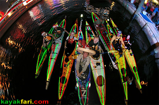 Flex Maslan Kayak Winterfest Boat Parade Christmas lights kayakfari alien Ft Lauderdale Holidays santa sombrero paddle photography