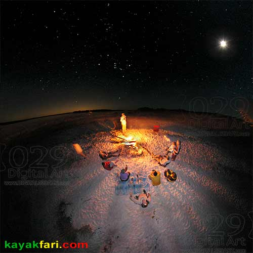 kayakfari Happy New Year Holidays Art Flex Maslan camping beach moonlight stars