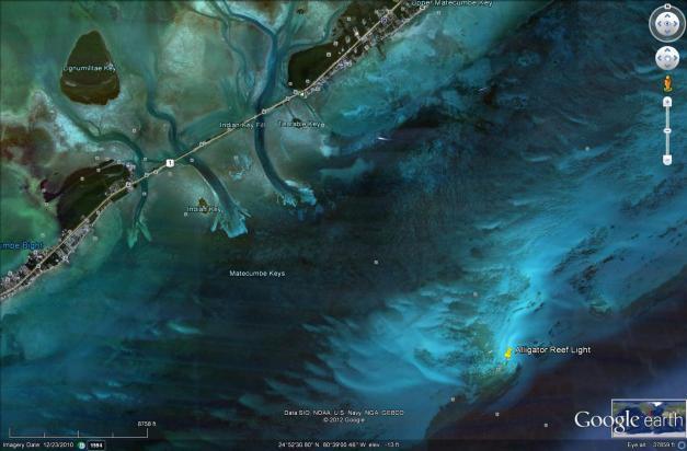 Alligator Reef Light kayakfari kayak lighthouse coral flex maslan aerial satellite