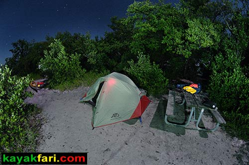Little Rabbit Key kayakfari aerial night Florida Bay Flex Maslan kayak canoe kayakfari.com camping ENP Everglades Keys Bird's-eye view panorama panoramic camp fish fishing