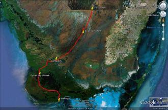 Shark River Slough Everglades expedition camping River of Grass kayakfari Flex Maslan marshall foundation kayak canoe sawgrass google earth satellite view trip route