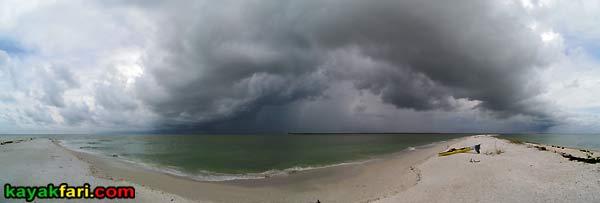Cape Romano Everglades sandbar kayak camping kayakfari panorama Flex Maslan Goodland Florida storm