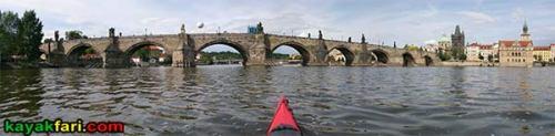 Prague kayak vltava kayakfari praha charles bridge czech republic Karlův most