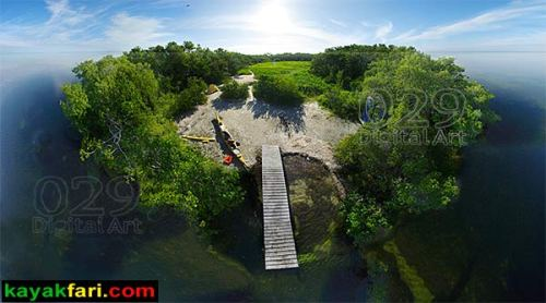 Kayak Aerial kayakfari photography pole Little Rabbit Key everglades 360 Florida Bay Flex Maslan canoe kayakfari.com camping ENP Keys Bird's-eye view panorama panoramic camp fish fishing