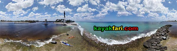 Pompano Hillsboro Light aerial inlet kayakfari kayak lighthouse flex maslan beach low tide dredge point