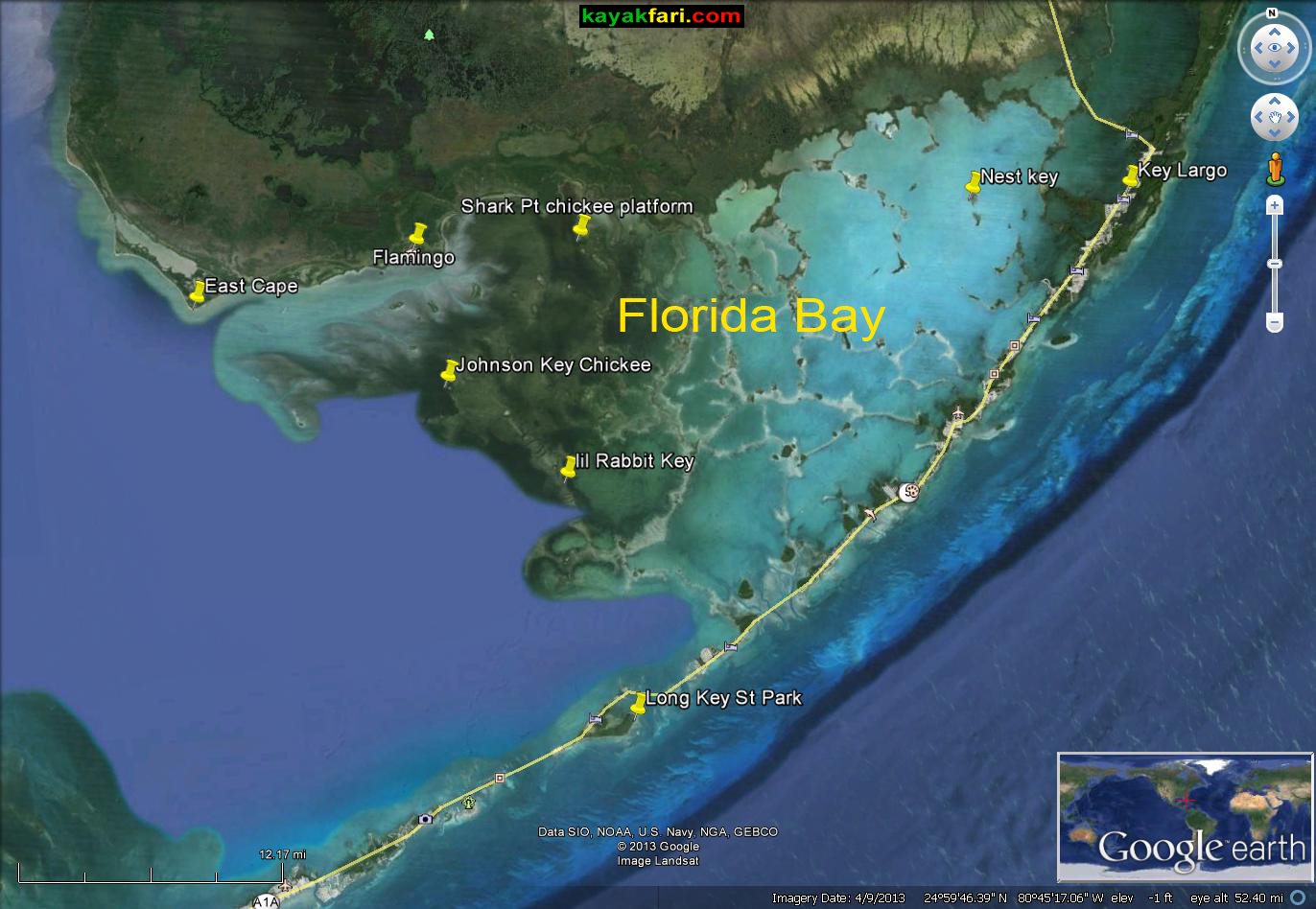 Chickees And Keys In Florida Bay Kayaking Camping And Nice - Satellite maps florida