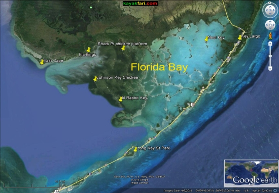 Florida Bay Kayak Everglades kayakfari Camp Flex Maslan mud flats low tide satellite