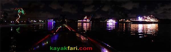 kayakfari.com Boca Raton Holiday kayakfari Parade kayak flex maslan lights night boat photo winterfest panorama
