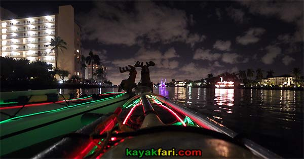 kayakfari.com Boca Raton Holiday kayakfari Parade kayak flex maslan lights night boat photo winterfest panoramic