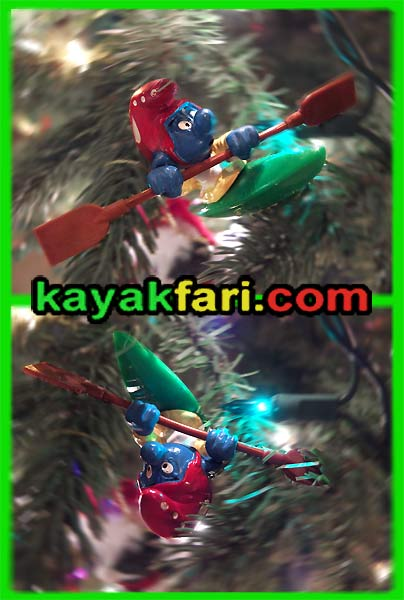 kayakfari christmas kayak roll smurf holiday lights tree paddle rolling Flex Maslan