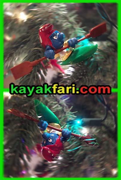 kayakfari christmas kayak roll smurf holiday lights tree paddle rolling Flex Maslan