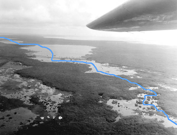Flex Maslan East Cape aerial Interior kayakfari Everglades Canoe raulerson prairie trail spoonbill pass 1959 photography kayak floridamemory.com