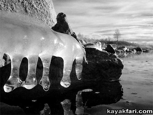 2014 c. Flex Maslan Winter Cochiti Lake kayakfari paddling kayak photography New Mexico snow ice breaker Santa Fe high altitude desert art Rio Grande b&w
