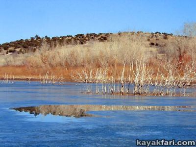 2014 c. Flex Maslan Winter Cochiti Lake kayakfari paddling kayak photography New Mexico snow ice breaker Santa Fe high altitude desert art Rio Grande