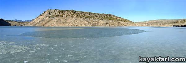 2014 c. Flex Maslan Winter Cochiti Lake kayakfari paddling kayak photography New Mexico snow ice breaker Santa Fe high altitude desert art Rio Grande panorama