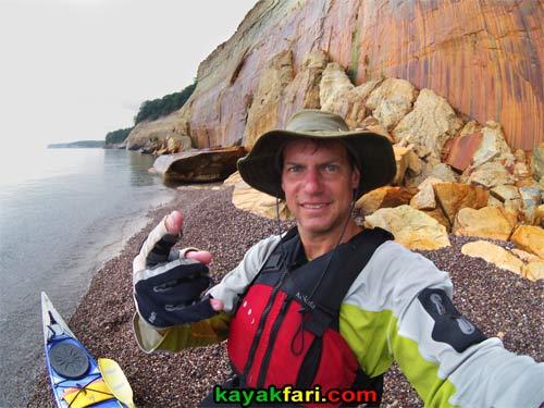 Flex Maslan kayakfari.com pictured rocks lake superior michigan kayak lakeshore cloud9 orca 16 kayak