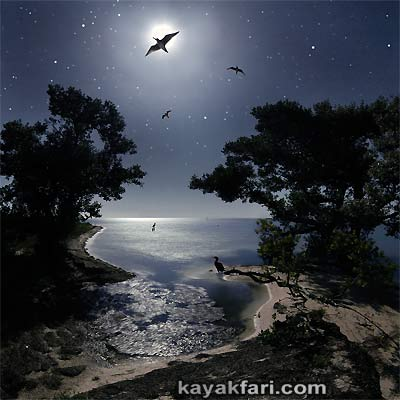 kayakfari photography art Florida Bay aerial kayak Everglades Flex Maslan landscape panoramic print sea Island Night
