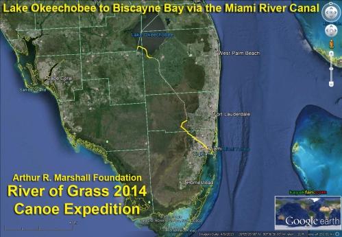 Miami River kayakfari Okeechobee Everglades Flex Maslan canoe expedition paddle River of Grass 2014 kayak florida map