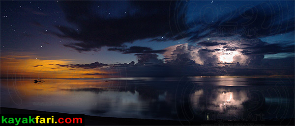 Flex Maslan kayakfari photographer kayak camping stars night Everglades landscape pano print art Florida Bay slough shark detonation at dawn storm