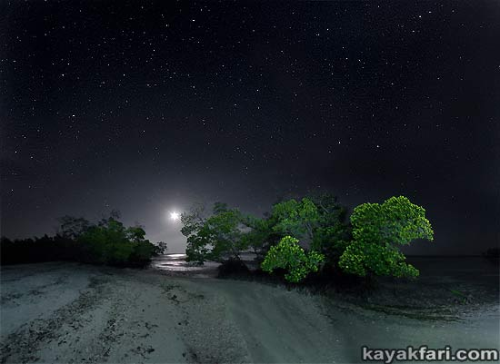 Flex Maslan kayakfari photographer kayak camping stars night Everglades landscape pano print art Florida Bay slough shark full moon camp lu lu