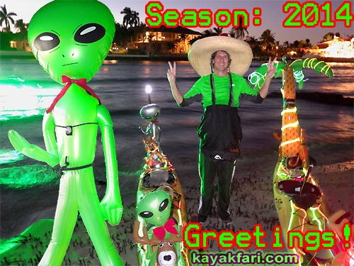 Flex Maslan kayakfari christmas kayak alien season santa holidays lights stars xmas florida
