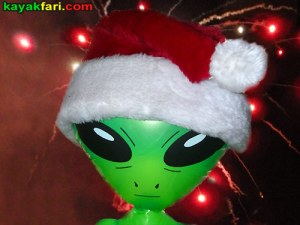 Flex Maslan kayakfari christmas kayak alien santa hat holiday lights fireworks winterfest paddle