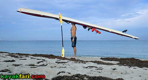 Flex Maslan Florida kayakfari hat long surfski kayak miami Adventure Art Fitness ft lauderdale kayakfari.com beach world's longest hat