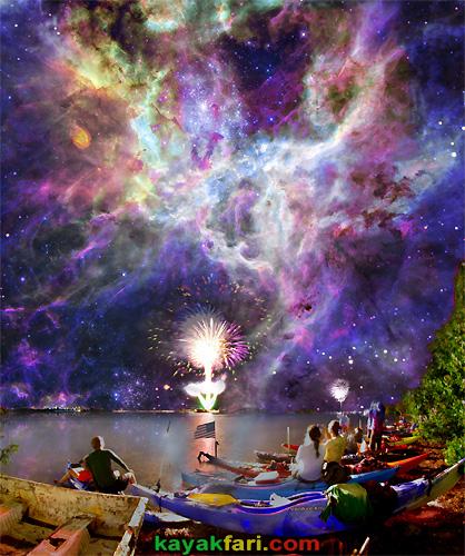 Flex Maslan space kayak art photography kayakfari fantasy night alien everglades sky july 4th fireworks