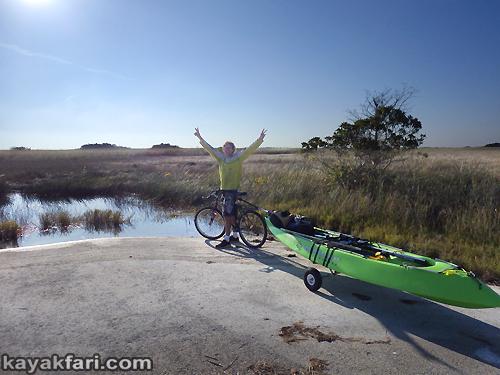Flex Maslan kayakfari awakenthegrass kayak shark valley everglades paddling tree hammock seagrape sawgrass willoughby key 1898 bicycle trailer