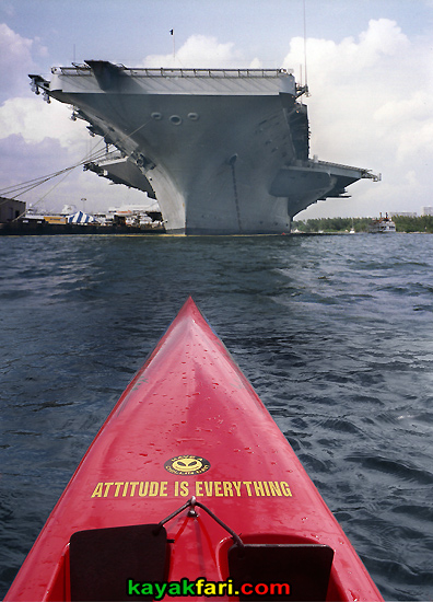 Flex Maslan kayakfari.com surfski kayak USS Dwight D. Eisenhower port everglades ft lauderdale aircraft carrier standoff attitude is everything