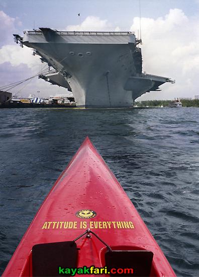 Flex Maslan kayakfari.com surfski kayak USS Dwight D. Eisenhower port everglades ft lauderdale aircraft carrier standoff attitude is everything