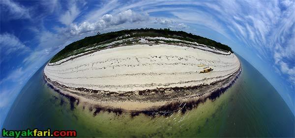 Flex Maslan East Cape kayakfari Sable Everglades kayak aerial beach panorama camp gulf florida bay fish eye