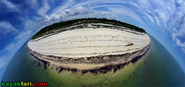 Flex Maslan East Cape kayakfari Sable Everglades kayak aerial beach panorama camp gulf florida bay fish eye