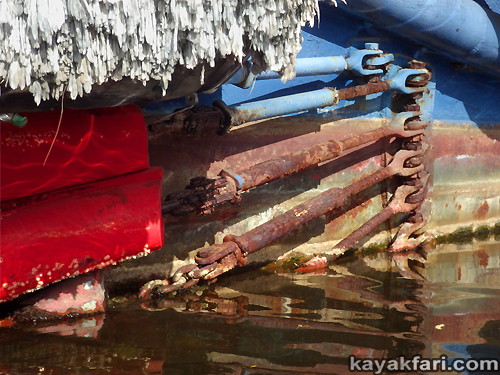 kayakfari art Flex Maslan photography paddle miami river canal kayak lips tug sexy shipyard everglade lipstick red hot tugboat 2015