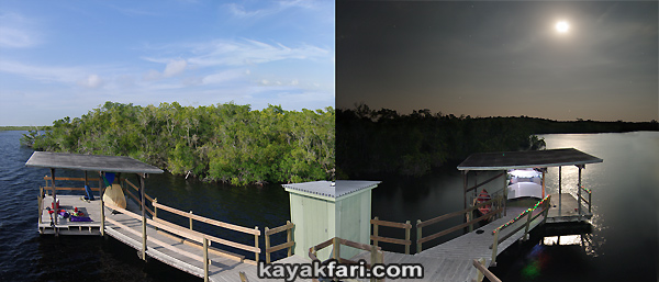 Flex Maslan Pearl Bay kayakfari everglades chickee Hells canoe trail panorama day night camp kayak moon paddle