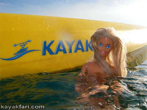 kayakfari Peekaboo fat kayak miami biscayne bay everglades Flex Maslan florida whole lotta Rosie humor fun paddle SUP stand up photography barbie plasticworlds