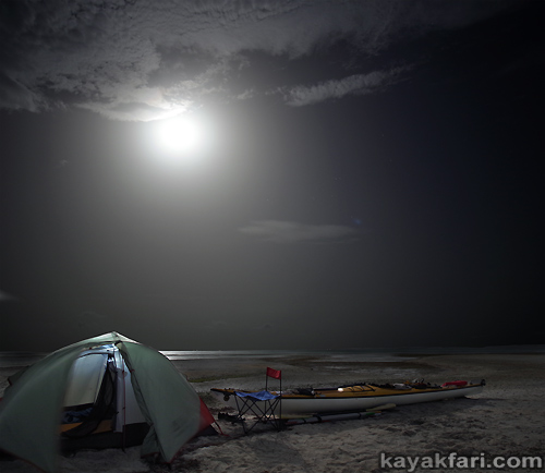 flex maslan kayakfari Barracuda Keys marvin shoal sandbar kayak paddle sugarloaf backcountry beach bay coral reef photography moon camp
